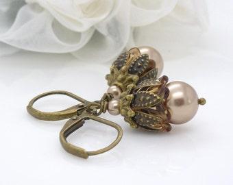 Champagne pearl earrings, neutral light brown beige, champagne pearl drop earrings, beaded jewelry