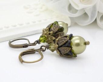 Olive green pearl earrings, beaded jewelry, autumn fall dark green and olive green earrings, antique bronze pearl drop earrings