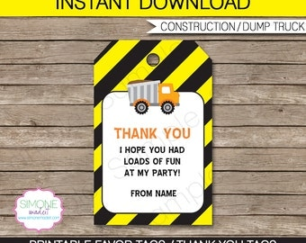 Construction Favor Tags - Thank You Tags - Birthday Party Favors - INSTANT DOWNLOAD with EDITABLE text template - you personalize at home