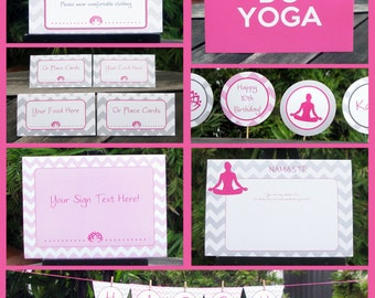 Yoga Party Invitations & Decorations - full Printable Collection - EDITABLE text that you personalize at home - INSTANT DOWNLOAD