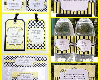 Bee Party Invitations & Decorations - full Printable Package - INSTANT DOWNLOAD with EDITABLE text - you personalize at home