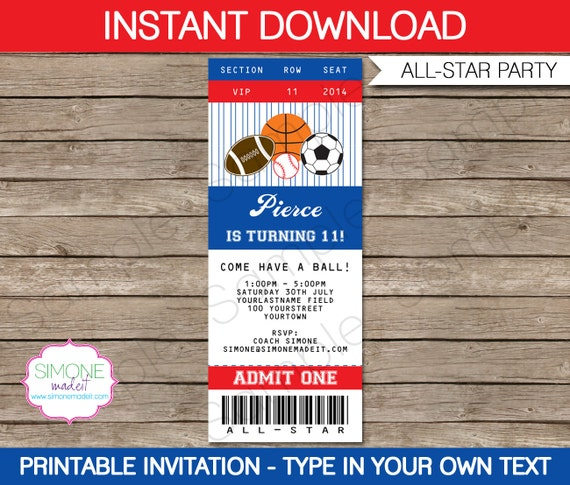 Sports ticket invitation template all star birthday for Sports ticket template free download