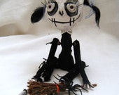 Dork & Spider The Witch Art Doll Recycled Upcycled Hand Stitched Gothic Spooky