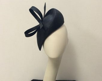 Couture black parasisal fascinator with bow
