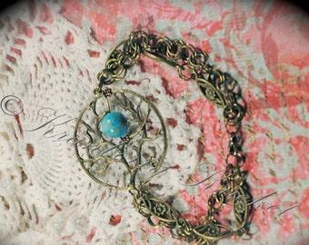 Turquoise Bracelet, Tree of Life, Tree Charm Bracelet, Jasper Bracelet, Variscite Bracelet, Tree Bracelet,Tree Charm,Charm Bracelet