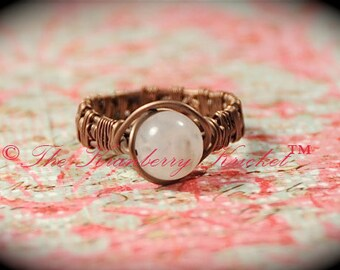 Copper Moonstone Gemstone ring - Size 7
