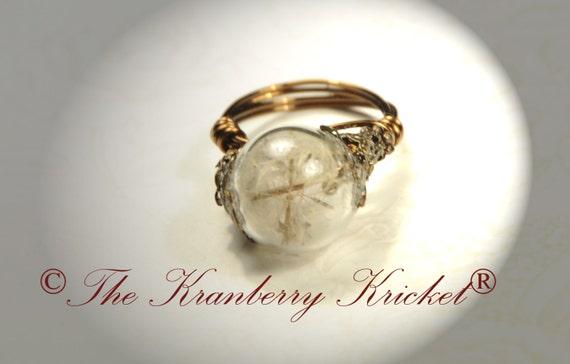 Dandelion Ring, Dandelion Seed Ring, Dandelion Clocks Ring, Dandelion Orb Ring, Hunger Games Dandelion, Make A Wish Ring, Size 6