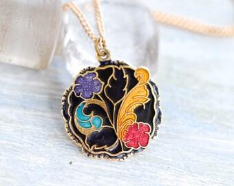 Art Nouveau Necklace - Colorful Enamels Pendant on Chain