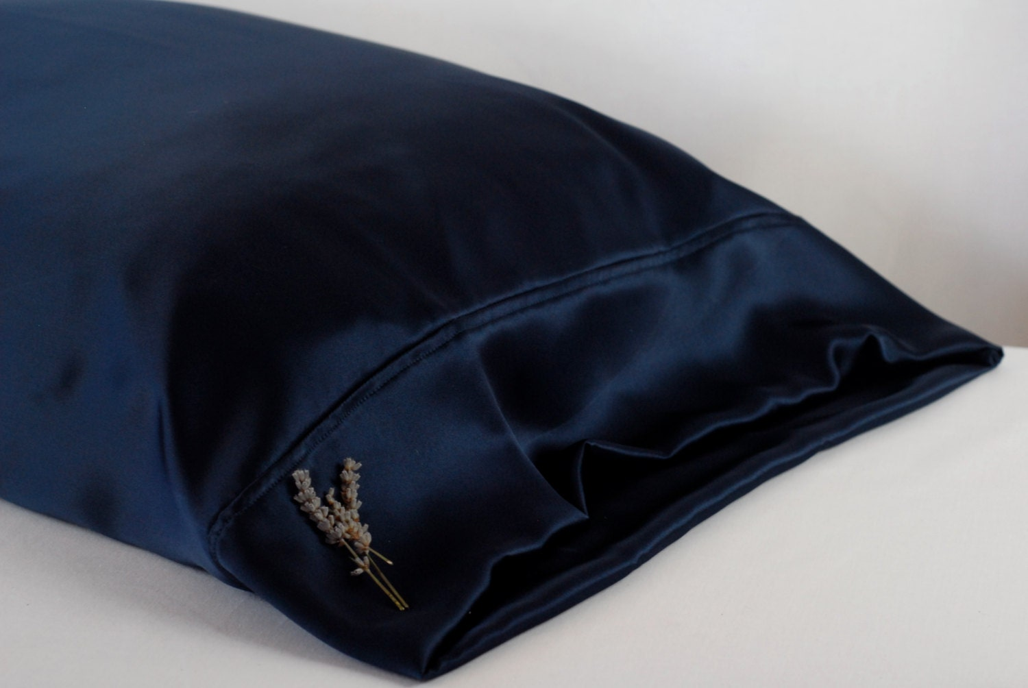 Silk Pillowcase Navy Blue Standard Or King Available French