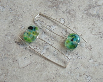 Long Earrings. Made from a Wine Bottle. Handmade Recycled Glass Beads, Green Tones