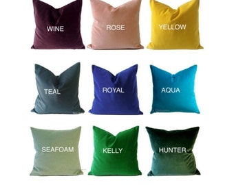 26x26 Velvet Decorative Pillow Cover- Available in 15 COLOR  -Medium Weight Cotton Velvet- Invisible Zipper Closure- Knife Or Pipping Edge