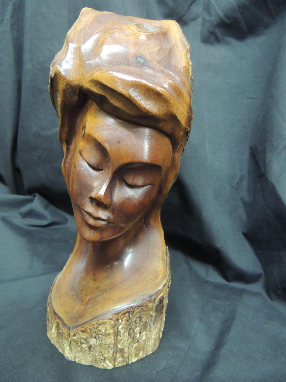 Carved wood art sculpture face woman log natrual greenman