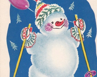 "Vintage ""Happy New Year"" Postcard - 1961, Soviet Artist"