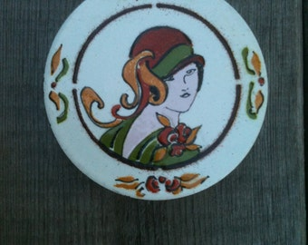 Wood and Enamel Jewelry or Trinket Box with Art Deco Woman