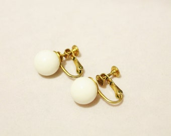 White Ball With Gold Tone Clip Earrings - Clip On / Screw On