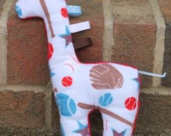 SALE - Giraffe Plush Minky Baby Toy- Sports Theme
