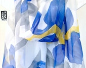 Hand Painted Large Silk Scarf, Blue, Gray and Yellow Iris Scarf, Silk Chiffon Scarf. 20x88 inches. Made to order.