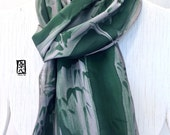 Large Silk Mens Scarf, Grey Green Sumi Bamboo Scarf, Hand Painted Silk Scarf Japanese. Large Silk Scarf Men. Gifts for men. Approx 14x72 in.