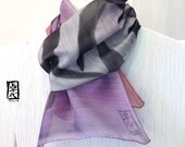 Gift Wrapped Mens Silk Wool Scarf Hand painted, Bushido Japanese Scarf 誠. Ombre Scarf, gray purple, light gray, Approx 11x59 inches.