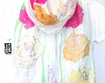 Silk Scarf Pink and Yellow Roses, Hand Painted Silk Small Neck Scarf, Silk Floral Scarf,  Silk Chiffon Scarf, Approx 7x50 inches.