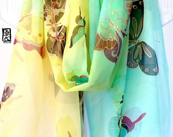 Hand Painted Silk Shawl Scarf, Mint green and Yellow Ombre Kimono Butterflies, Silk Chiffon Scarf. 21x89 - 22x90 inches