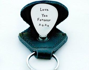 Personalized Guitar Pick with Leather Case - Sterling Silver Guitar Pick - Engraved Guitar Pick - Gift for Dad