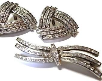 Vintage Art Deco Demi Parure Rhinestone Earrings and Brooch  West German 1940s