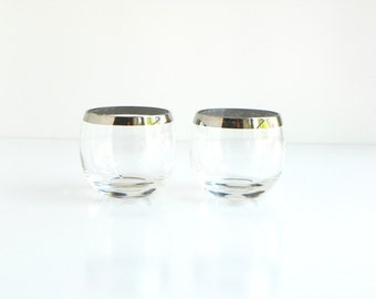 2 Mid Century Silver Rimed Roly Poly Glasses