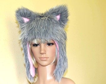 Gray Kitty Hat Faux Fur Cat Hat with Pale Pink Fleece Liner