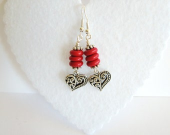 Heart Earrings with Coral