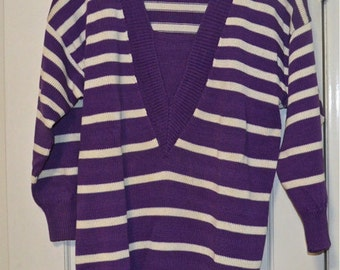 Vintage 1980s Lina Lee Purple and White Striped Womens Sweater