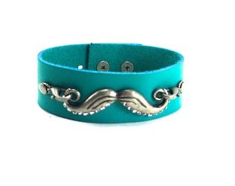 Mustache Bracelet, Leather Cuff Bracelet, Available in Custom Colors, Mustache Charm, Mustache Leather Cuff, Leather Cuff Bracelet