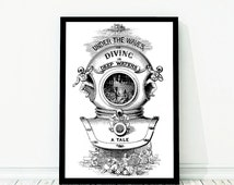 Large Deep Sea Diving Helmet Nautical Vintage Style Print Black and White Grey Beach House Decor