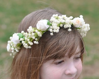 Flower Girl Wreath, First Communion Wreath, Simple Ivory Babies breath and rose wreath for flower girls, or bridal hair piece.
