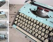 Vintage Typewriter Working Typewriter Olympia De Luxe Portable Typewriter Customized Typewriter Powder Blue and Gray Franz Kafka