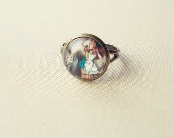 Alice Ring. Alice in Wonderland Ring. Adjustable Glass Ring.