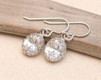 Bridal earrings, Bridesmaid Earrings, White CZ Earrings, Sterling Silver Gemstone Earrings,  April Birthstone Earrings, diamond like