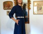 SALE--20% OFF Listing Price--Dark Blue Denim Dress with pockets, size 6- 8 handmade
