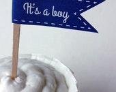 It's A Boy Paper Cupcake Flag - Navy Blue Baby Shower - 1 Dozen