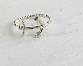 Sterling silver anchor ring, silver anchor ring, anchor and rope ring, nautical ring, silver nautical ring