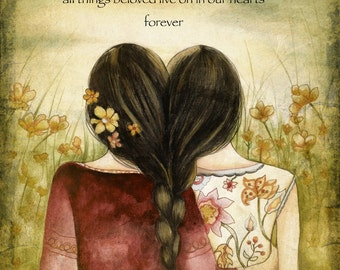 Art print sisters best friends  with quote
