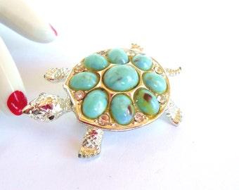 Vintage Turtle Brooch Rhinestone Silver Blue 50's (item 79)