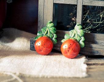 Vintage Tomato Ceramic Salt & Pepper Shakers