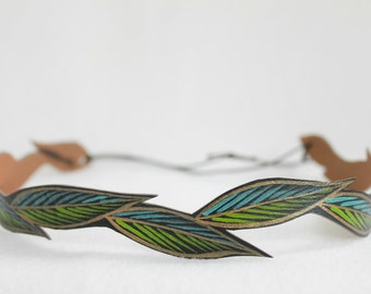 Boho Festival Headband, Women's Leather Headband, Turquoise & Lime Green Leaves, Gifts for Her