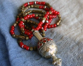 Unique TURKOMEN Goldwash Pendant; Extra Long Beaded Necklace; Brass Beads From India & African Trade Beads.