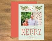 Mint + Orange Christmas Card, Merry Little Christmas Card, Holiday Photo Card