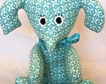 Handmade light blue print elephant soft toy