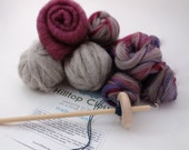 Drop Spindle Kit Purple - Learn to Spin- 135g (4.8oz) roving, batt, fibre, a spindle and beginner instructions