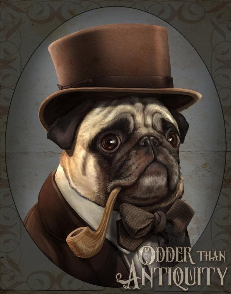 Mr Farnsworth Pug Gentleman Victorian Steampunk Top Hat Pipe