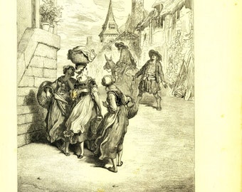 1885 Antique Print La Fontaine Fables by Dore, The Miller, His Son and the Donkey Old Engraving